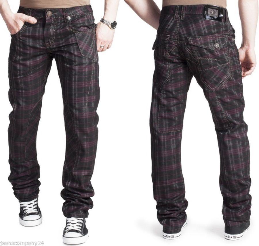 kosmo lupo km 327 jeans chino skinny karo glanz hose herren dj clubwear w28 w36 ebay. Black Bedroom Furniture Sets. Home Design Ideas